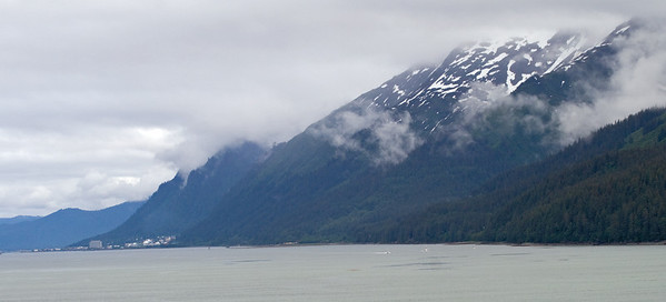 The view from our ship as we woke up on Sunday sailing into Juneau.  You can see the city in the distance