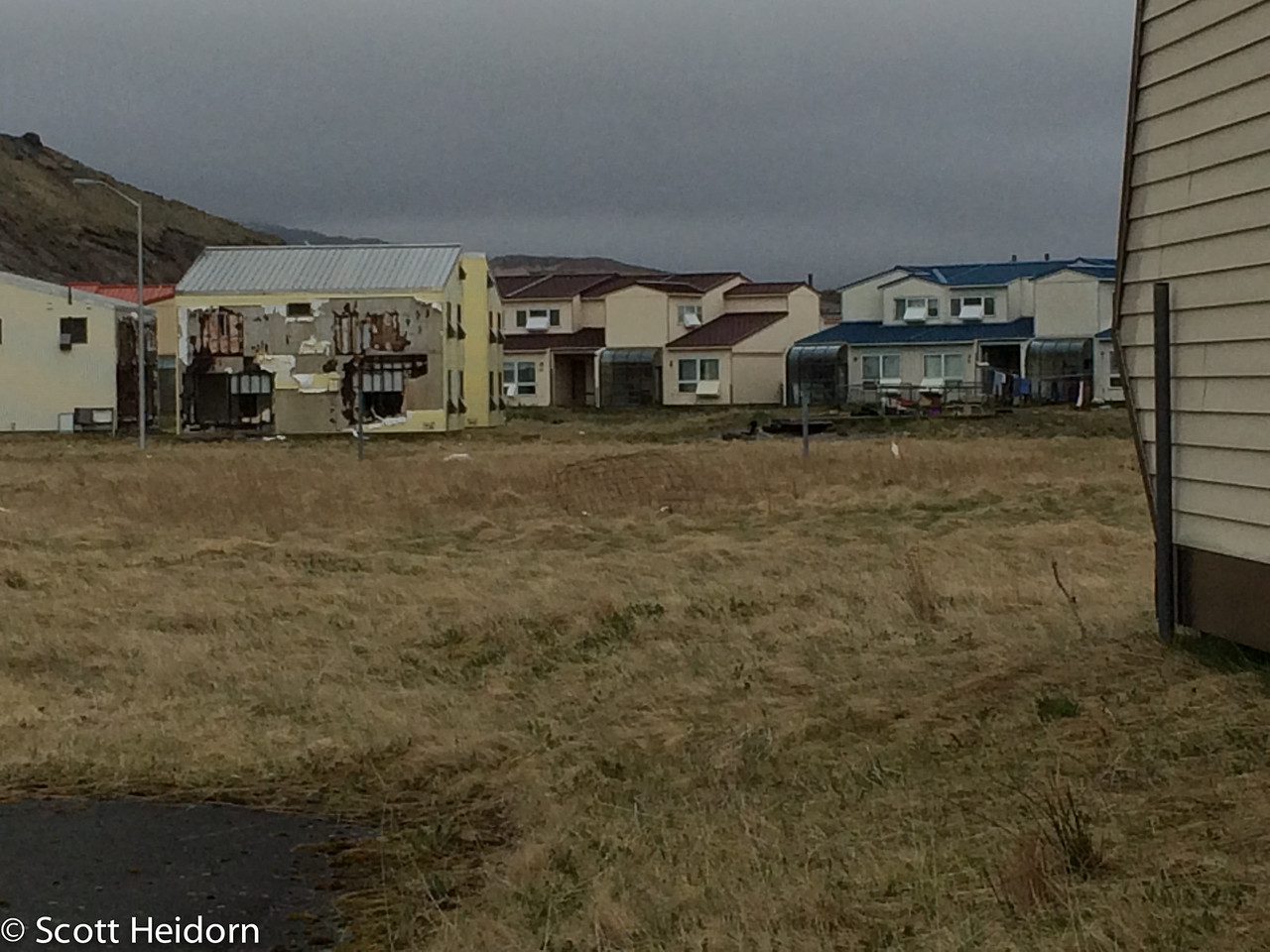 Many of the homes in the back were still occupied
