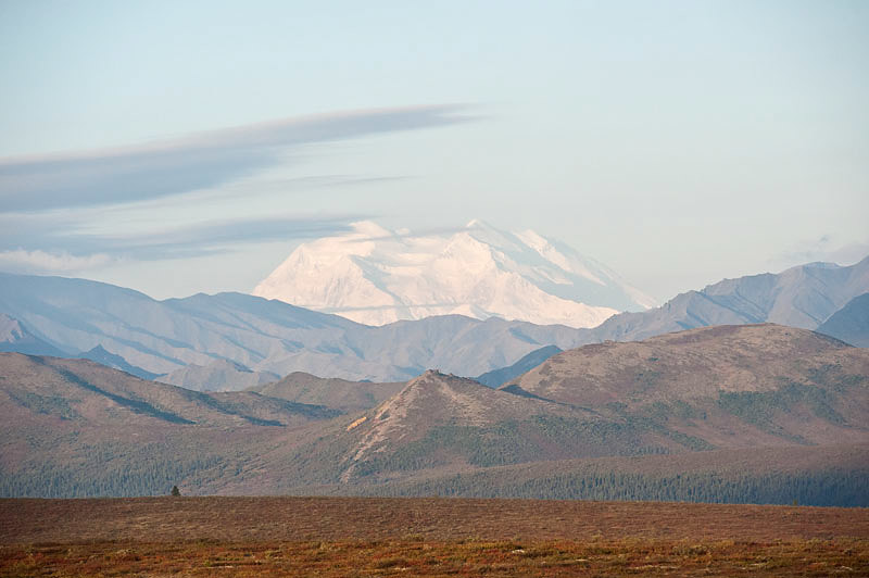 A far away view of Mt McKinley