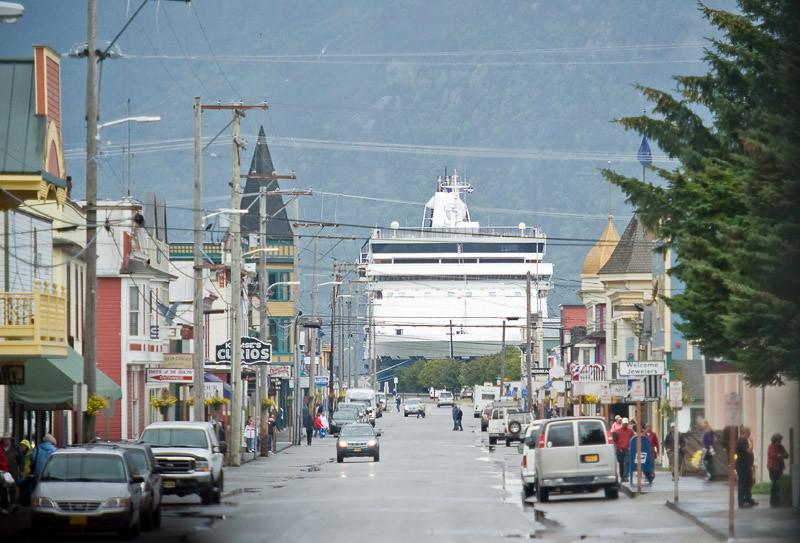 A Skagway street with our ship in the background