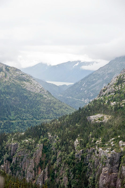 You can see the Skagway Port down in the valley