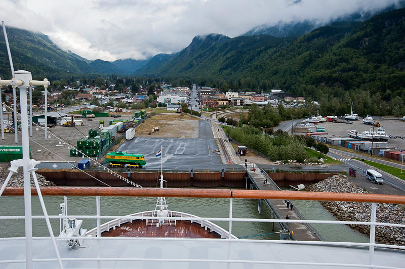 Looking at Skagway from the top of the ship
