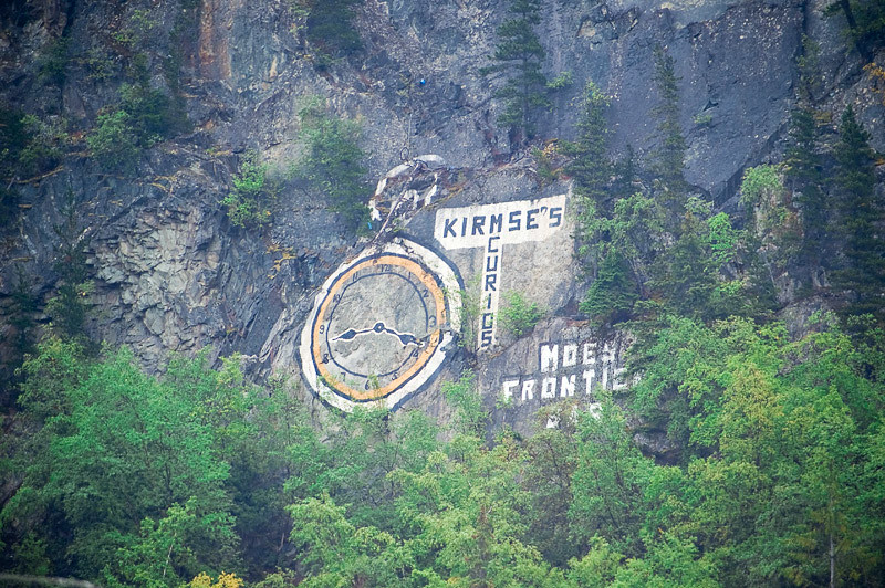 Billboard on the side of the mountain overlooking Skagway