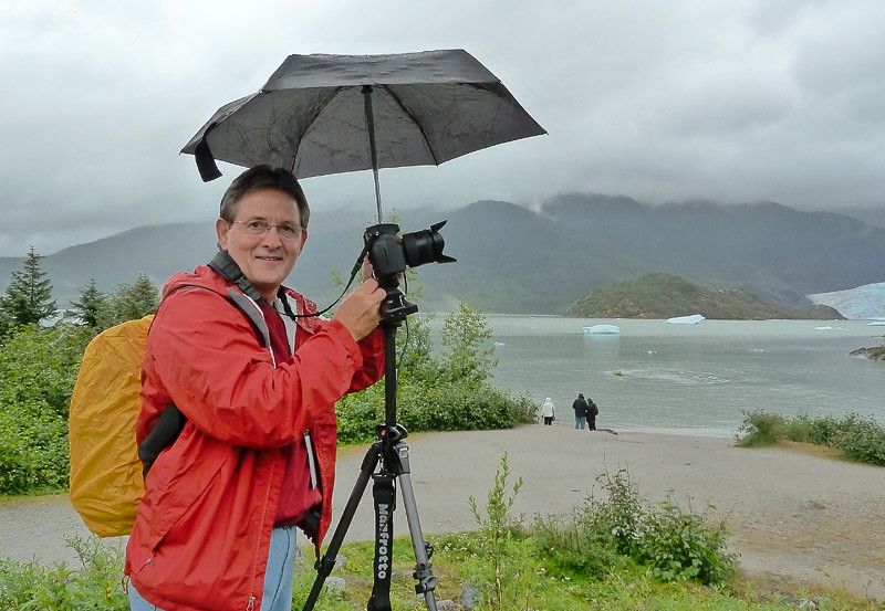 Me, trying to keep the camera dry!
