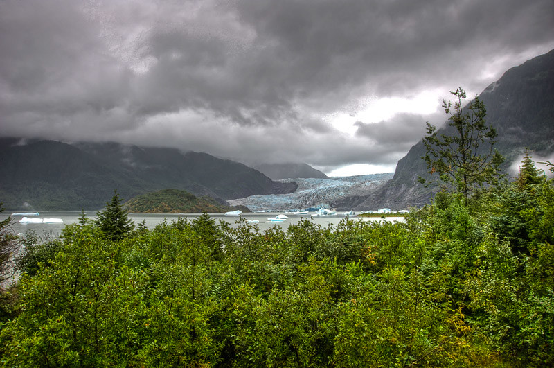 Several different views of the Mendenhall Glacier area