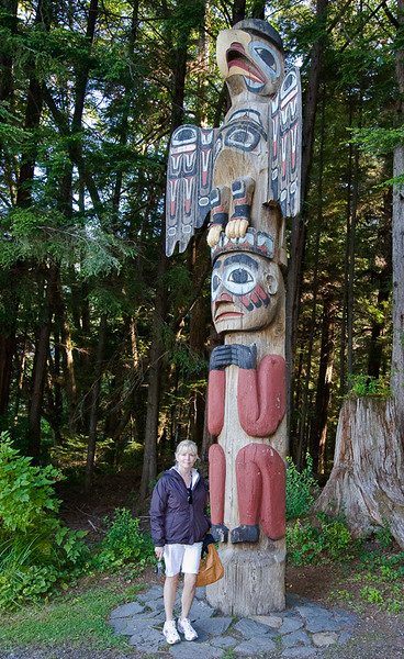 Each totem pole is a copy made by hand using traditional tools.