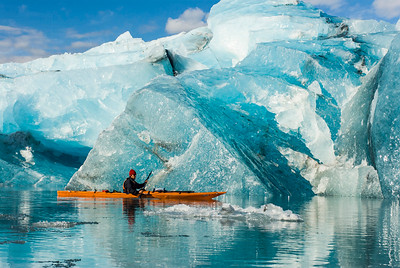 Kayaking around a fresh iceberg that has calved off of Bear Glacier, Kenai Fjords National Park, Alaska