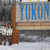 Carol and I as we enter the Canadian Yukon.