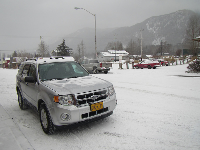 Our all wheel drive SUV parked in downtown Haines Alaska