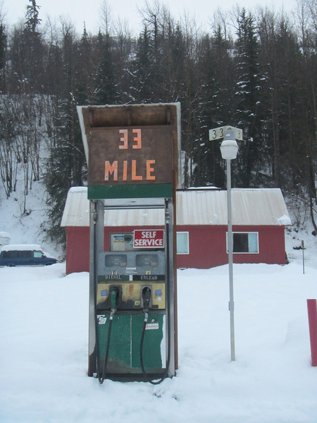 Last change for gas before Canada at 33 Mile Restaurant.