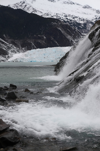 Waterfall with Mendenhall Glacier in the background.