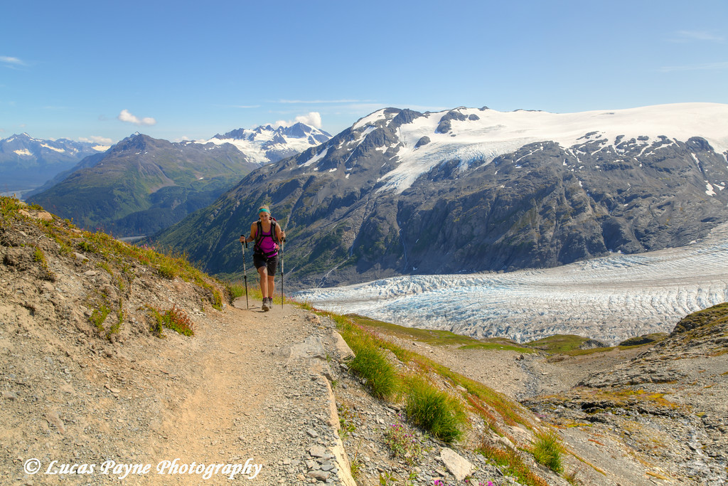 Woman hiking the Harding Icefield Trail alongside Exit Glacier in Kenai Fjords National Park near Seward, Kenai Peninsula, Southcentral Alaska. <br /> <br /> August 02, 2014