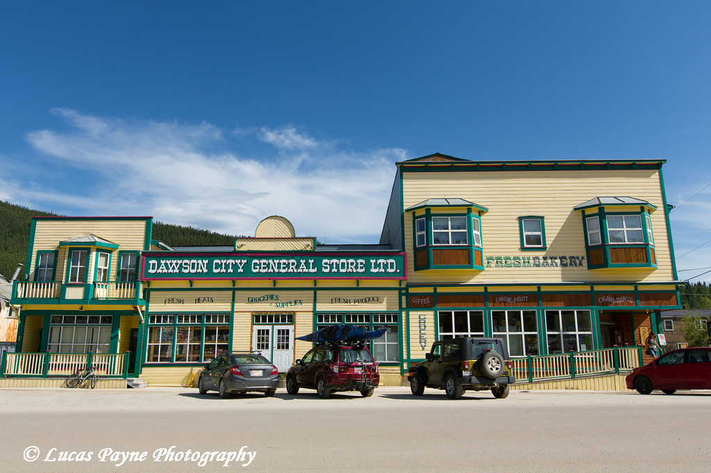 Dawson City General Store along Front Street in Historic Dawson City, Yukon, Canada.<br /> <br /> June 29, 2014