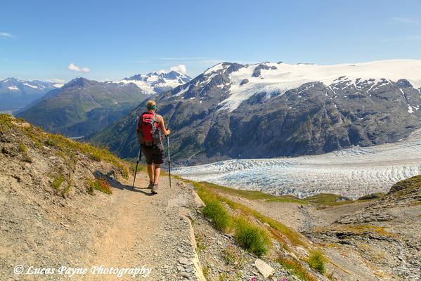 Woman hiking the Harding Icefield Trail alongside Exit Glacier in Kenai Fjords National Park near Seward, Kenai Peninsula, Southcentral Alaska. <br /> <br /> August 02, 2014