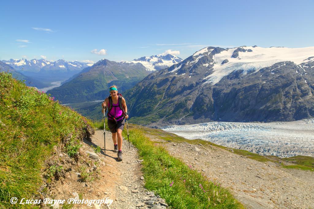 Woman hiking the Harding Icefield Trail alongside Exit Glacier in Kenai Fjords National Park near Seward, Kenai Peninsula, Southcentral Alaska.<br /> <br /> August 02, 2014