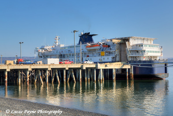 Alaska Marine Highway ferry M/V Kennicott loading vehicles at the Port of Homer, Homer Spit, Kenai Peninsula, Alaska.<br /> <br /> May 04, 2014