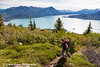 Female hiking the Skilak Lookout Trail overlooking Skilak Lake in the Kenai National Wildlife Refuge, Kenai Peninsula, Southcentral Alaska<br /> <br /> August 11, 2012