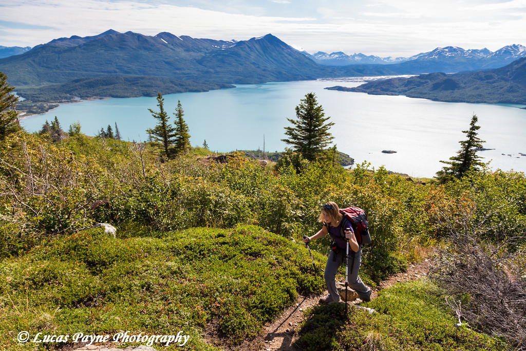 Female hiking the Skilak Lookout Trail overlooking Skilak Lake in the Kenai National Wildlife Refuge, Kenai Peninsula, Southcentral Alaska<br /> <br /> August 11, 2012