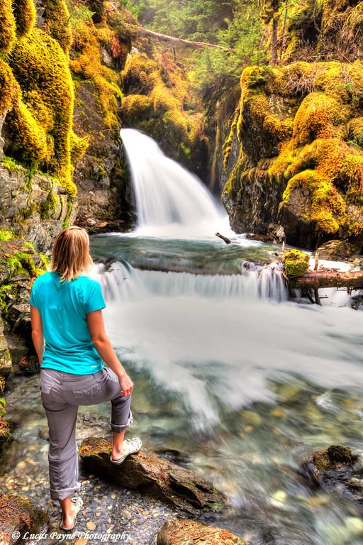 Melissa enjoying the view of Virgin Creek Falls in Chugach National Forest<br /> Girdwood, Alaska<br /> HDR<br /> June 09, 2012