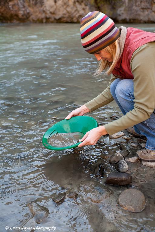 Melissa panning for gold in Caribou Creek near the Glenn Highway<br /> September 11, 2011