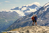 Hikers take a self-portrait with a smart phone from the Harding Icefield Trail near Seward, Kenai Fjords National Park, Kenai Peninsula, Southcentral Alaska. <br /> <br /> August 02, 2014