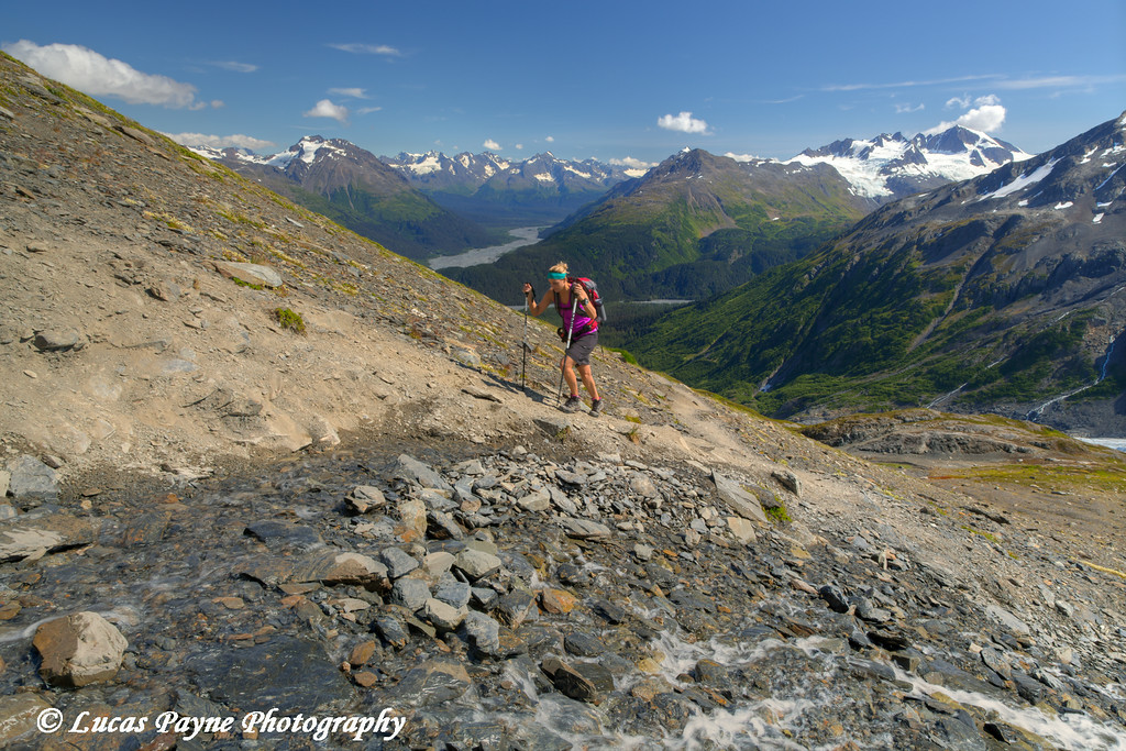 Woman hiking the Harding Icefield Trail in Kenai Fjords National Park near Seward, Kenai Peninsula, Southcentral Alaska. <br /> <br /> August 02, 2014