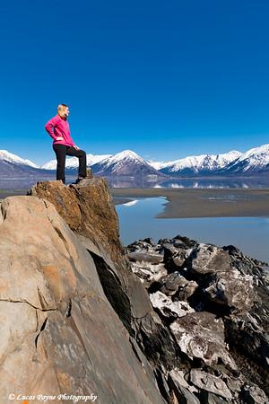 Melissa standing on shoreline of Turnagain Arm near Hope, Alaska<br /> April 16, 2011