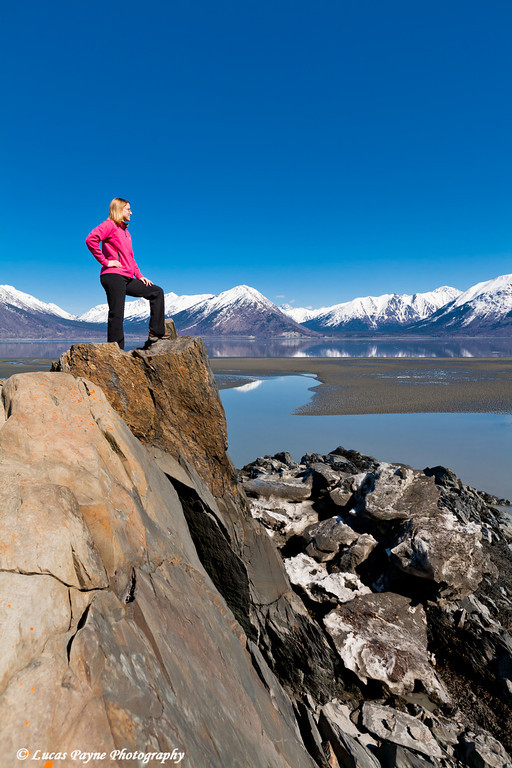 Melissa standing on shoreline of Turnagain Arm near Hope, Alaska<br /> April 16, 2011