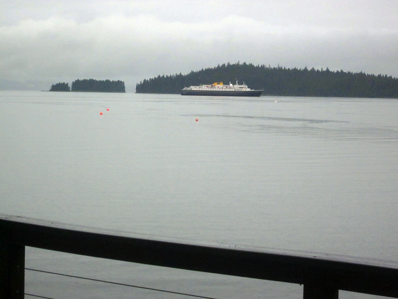 From the Juneau waterfront home of my hostess Sharron Lobaugh, you can see the state ferries heading in to dock.
