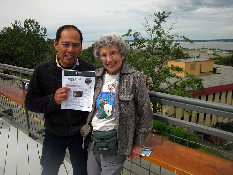 In Anchorage I meet new Sierra Club Alaska Chapter chair, Yasuhiro Ozuru--he holds Chapter newsletter that I edit