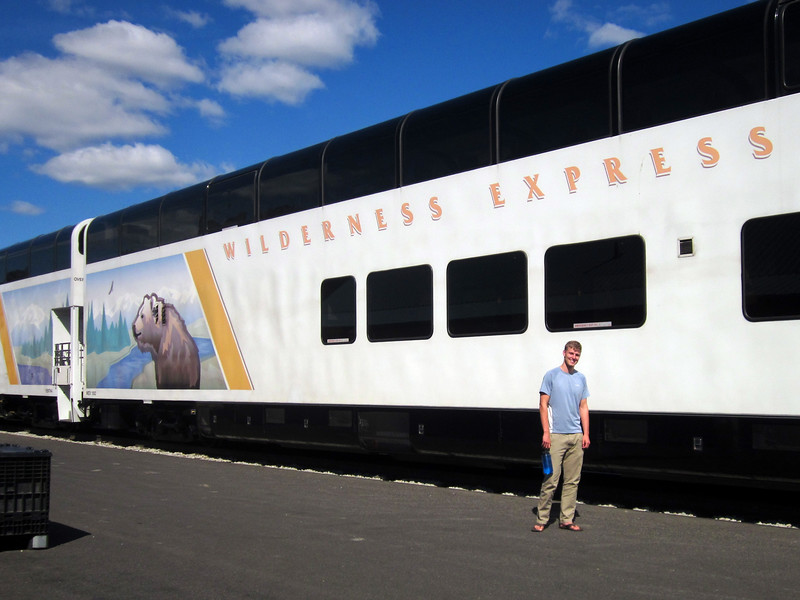 "We leave the Alaska railroad's ""wilderness express""."