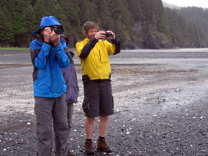 Geoff and Nathan photographing on the beach near Fort Abercrombie.
