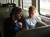 On the train, Nathan and Denali