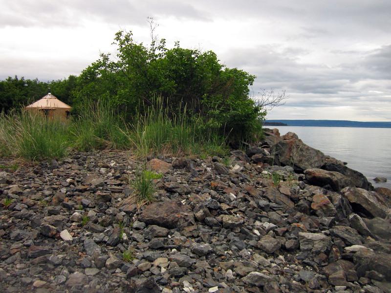 The yurt and the beach---Kachemak Bay beyond