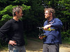 Ben Kirkpatrick and Nathan in deep discussion over Nathan's drone
