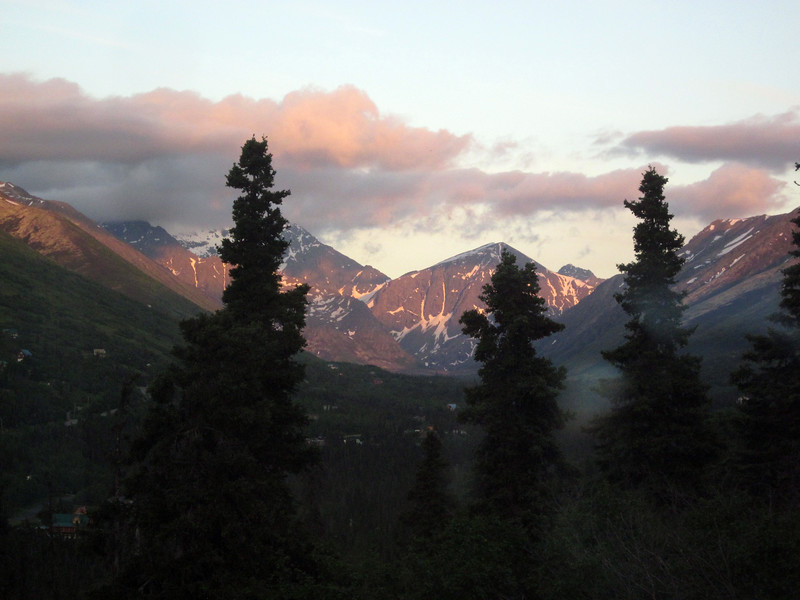View from friend Pat Fort's house in Eagle River--our first overnight in Anchorage area.
