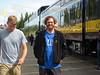 Denali and Nathan walk at a brief train stop in Talkeetna