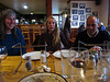 Haines Fireweed restaurant dinner=-Irene, Annie (bride of unicycle teammate Ned) and Jim
