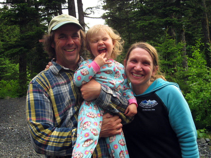 My Girdwood friends, Chugach Forest wilderness rangers Tim and Barbara Lydon and their daughter Stella, 2 1/2