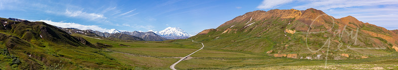 12 individual photos stitched together to make this panorama of Denali Mountain. The furthest you can go into the park, post Covid 19, Mile marker 62 on the park road.