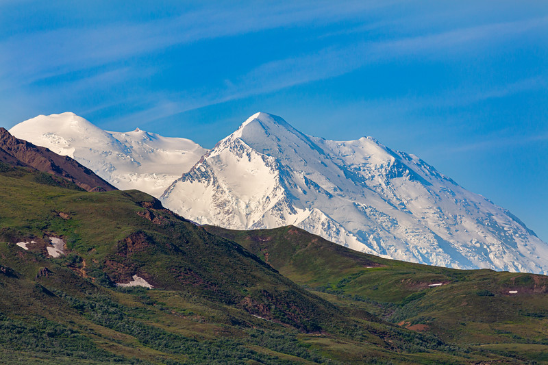 Denali from a distance as traveled on the park road.
