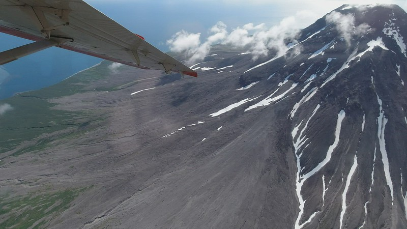 Mount St. Augustine Volcano Fly-over.