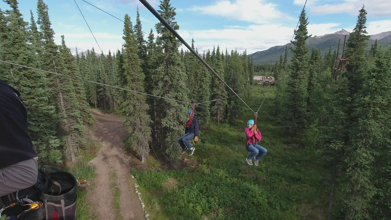 Video - The last of 7 zip-lines and it's a race!