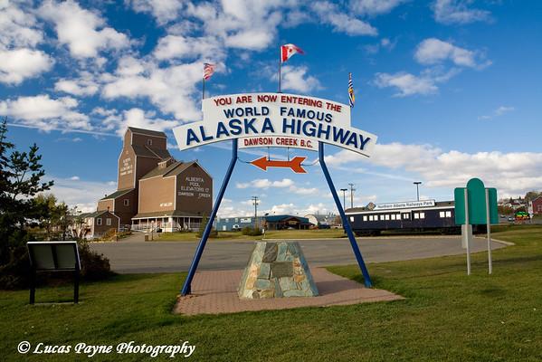 """World Famous Alaska Highway"" sign in Dawson Creek, British Columbia, Canada.<br /> October 2008"