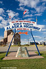 """World Famous Alaska Highway"" sign in Dawson Creek, British Columbia, Canada.<br /> October 2008"