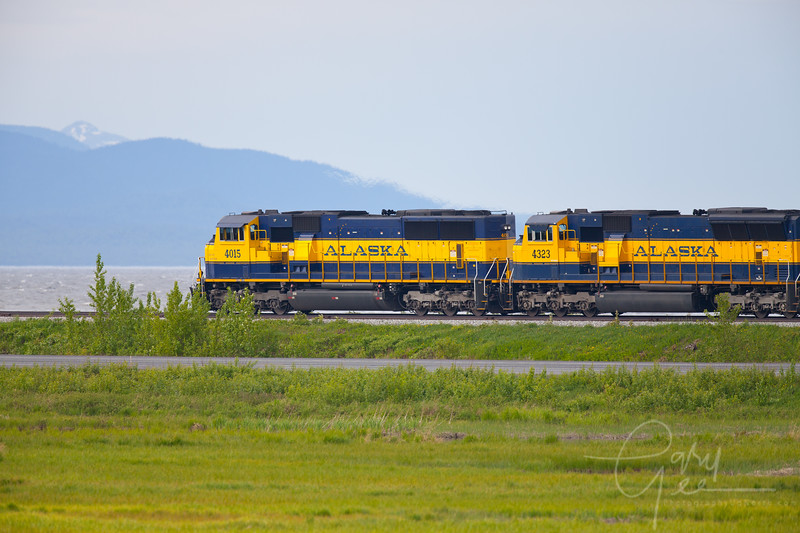 Alaskan Railroad passing by Anchorage Marsh