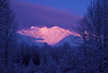 Chugach winter alpenglow near Girdwood.