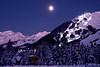 Full moon over Mt. Alyeska and the ski community of Girdwood. <br /> 45 miles from town.