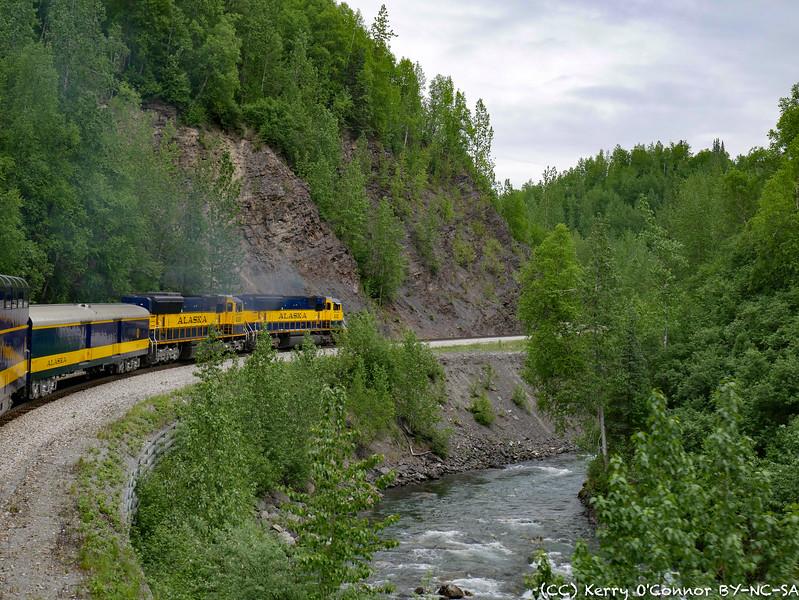 Alaska Railroad - around a creek bend
