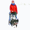 Dog sled driver in a whiteout in the Talkeetna Mountains.